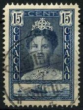 Curacao 1928-32 SG#116a, 15c Indigo Queen Wilhelmia P12.5 Used #D43850