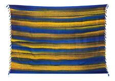 Sarong / Pareo / Strandtuch - Blau Gelb Gestreift