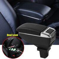US Armrest Storage Box Arm PU Leather Black For Chevrolet Trax Tracker 2013-19