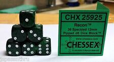CHESSEX 12mm SPECKLED DICE BACK IN STOCK - RECON (GREEN/BLACK) w/WHITE! SMALLER!