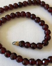 """Antique Necklace Bohemain Garnet Facet Cut 16"""" WOW 2 Gorgeous Stones"""