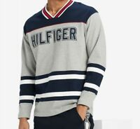 NWT Men's Tommy Hilfiger V Neck Hockey Jersey Pullover Sweater Sweatshirt
