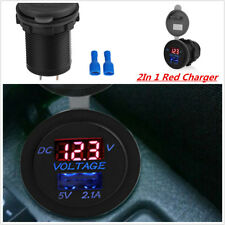 USB Ports Car charger Voltage current display 5V 2.1A Power Socket Adapter Red