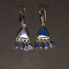 Sterling SILVER Belly Dance ATS Tribal EARRINGS Kuchi Afghani Real LAPIS 725a3