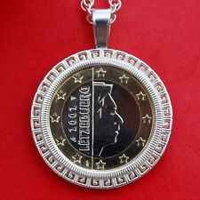 2002 Luxembourg One Euro BU Unc Coin Solid 925 Sterling Silver Necklace NEW