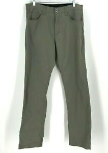 EDDIE BAUER - MEN'S SIZE 34 X 34 - GRAY WATER RESISTANT NYLON PANTS