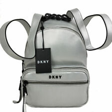 DKNY Backpack Abby Silver Zip Around Faux Leather