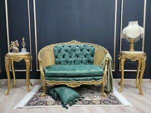 French Style Settee/ Aged Gold Leaf Frame/ Tufted Emerald Green