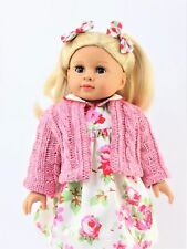 Floral Dress Sweater Set & Hair Bows For 18 Inch American Girl Doll Clothes 3 PC