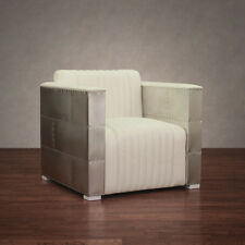 vindicator modern white leather aluminum finished living room accent arm chair