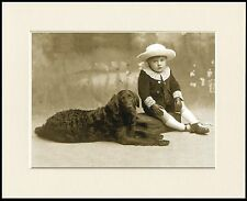 FLAT COATED RETRIEVER LOVELY LITTLE DOG AND BOY PRINT READY MOUNTED
