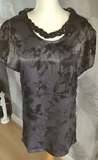 FIRETRAP Black On Black Print Satin Effect Top With Detachable Necklace Size Med