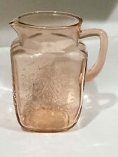 New listing Vintage Pink Glass Embossed Pitcher