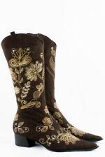Vintage Stiefel 40 90s 00s Wildleder Look Embroidery suede boots Folklore Stil