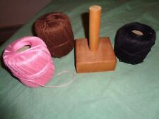 (2636) 3 large VINTAGE balls of crochet darning Thread with wooden holder