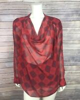 Cabi Top Size Medium M Women's Diamond Blouse 3125 Red Printed Sheer Long Sleeve