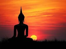PAINTING ILLUSTRATION BUDDHA SILHOUETTE SUNSET SKY ART PRINT POSTER MP3059A