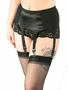 Women's Vintage Pinup Style Black Satin Garter Belt Suspenders with Stockings