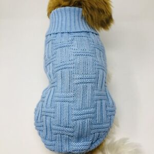 Dog Puppy Knitted Sweater Winter Warm - Blue -  S M L XL