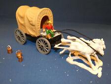 Timpo Toys - Cowboy Planwagen - Kutscher und 2 Pferde