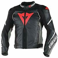 DAINESE SUPER SPEED-3 LEATHER JACKET MOTORBIKE-MOTORCYCLE BLACK-RED-GREY-Replica