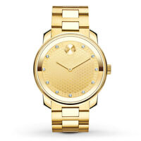 Movado Bold Yellow Gold Tone Diamond Dial Quartz Men's Watch (3600374)