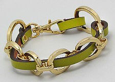 "8"" Lime Green Leather Bracelet Gold Plated Stainless Steel FABULOUS"
