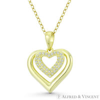 Double-Heart CZ Crystal Love Charm .925 Sterling Silver 14k GP Necklace Pendant