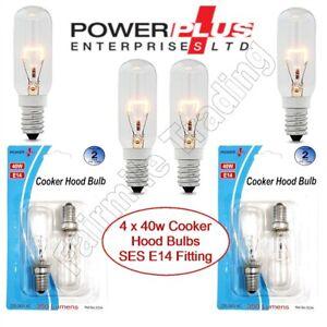 4X POWERPLUS 40W Cooker Hood Appliance Light Bulb 240v SES E14 Extract Fan Lamp