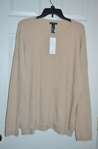NWT EILEEN FISHER 100% Cashmere Ribbed Sweater Beige