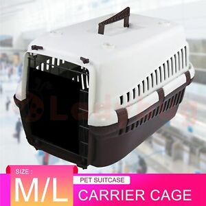 Portable Plastic Dog Cat Pet Pets Carrier Travel Cage w Front Doors House Kennel