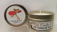 Cherry Bomb Homemade 4oz Tin Soy Candle- Easy to take any where, great gift