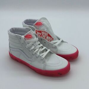 Vans High Top Lace Up Comfort Skateboard Transparent Red Pink White Sneakers 6