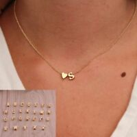 1pc 26 Letters Tiny Love Heart Collier Choker Necklace Pendant for Women Lovers