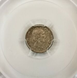 PCGS-MS65 1869 NETHERLANDS 5CENTS SILVER TONING TOP GRADE BU