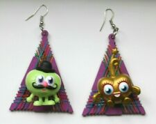 Monster Heart and Green Moustache  Grunge Plastic Toy Upcycled Earrings