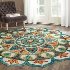 Floral Medallion Round Indoor Area Rug Teal/Green 4' OR 6' Diameter Wool Carpet