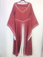 Red & White Embroidered Medieval Maidon Renaissance Dress Cosplay Fancy Dress S