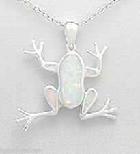 Solid Sterling Silver 25mm White Lab Created Opal Frog Pedant 5.5g