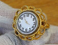 Vintage Lucerne Swiss Made Wind Up Ladies Adjustable Ring Watch-NOS