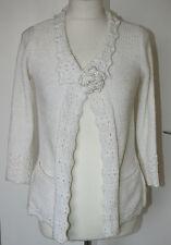 Per Una Small UK8-10 EU36-38 white ribbon knit 3/4 sleeve cardigan with brooch
