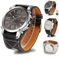 Luxury Unisex Women Mens Analog Roman Big Dial Quartz Sport Leather Wrist Watch