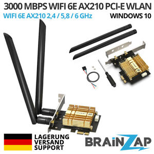 3000 Mbit WiFi 6 E AX210 PCIe PCI-Express WLAN Karte 2,4/5,8 GHz Dual-Band BT5.2