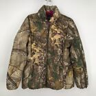 Realtree Womens Fleece Jacket Brown Pink Camouflage Zip Up Pockets Collared L/44