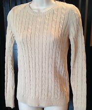 Charter Club Womens Petite/P Cable Knit Sweater Pullover Beige 100% Cotton  NWT