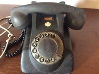 Vintage antique  PTT Rotary Dial Desk black Phone retro mid century telephone
