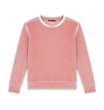 Maje Torina Blush Rose Velvet Crew Neck Sweatshirt Pullover Sz. Medium NWOT.