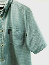 Columbia Shirt Men's Button Down Short Sleeve Green Plaid Size Large