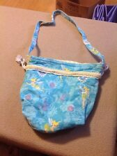 HANDMADETurquiose And Yellow TINKERBELL GIRLS CHILDS CLOTH BAG PURSE