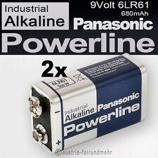 2x 9Volt Block 6LR61 MN1604 Batterie PANASONIC POWERLINE INDUSTRIAL